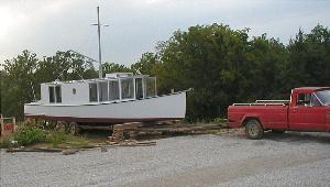 Backing trailer under boat